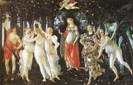 ボッティチェリ 作品 「春(プリマベーラ)」油絵複製絵画販売 ウフィツィ美術館所蔵 フィレンツェ