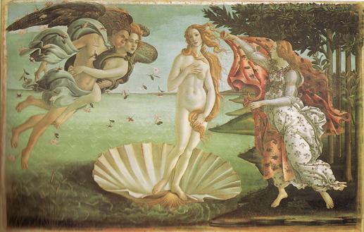 ボッティチェリ ヴィーナスの誕生(ウフィツィ美術館所蔵)絵画解説