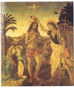 レオナルド・ダ・ヴィンチ作キリストの洗礼(ウフィツィ美術館)絵画解説